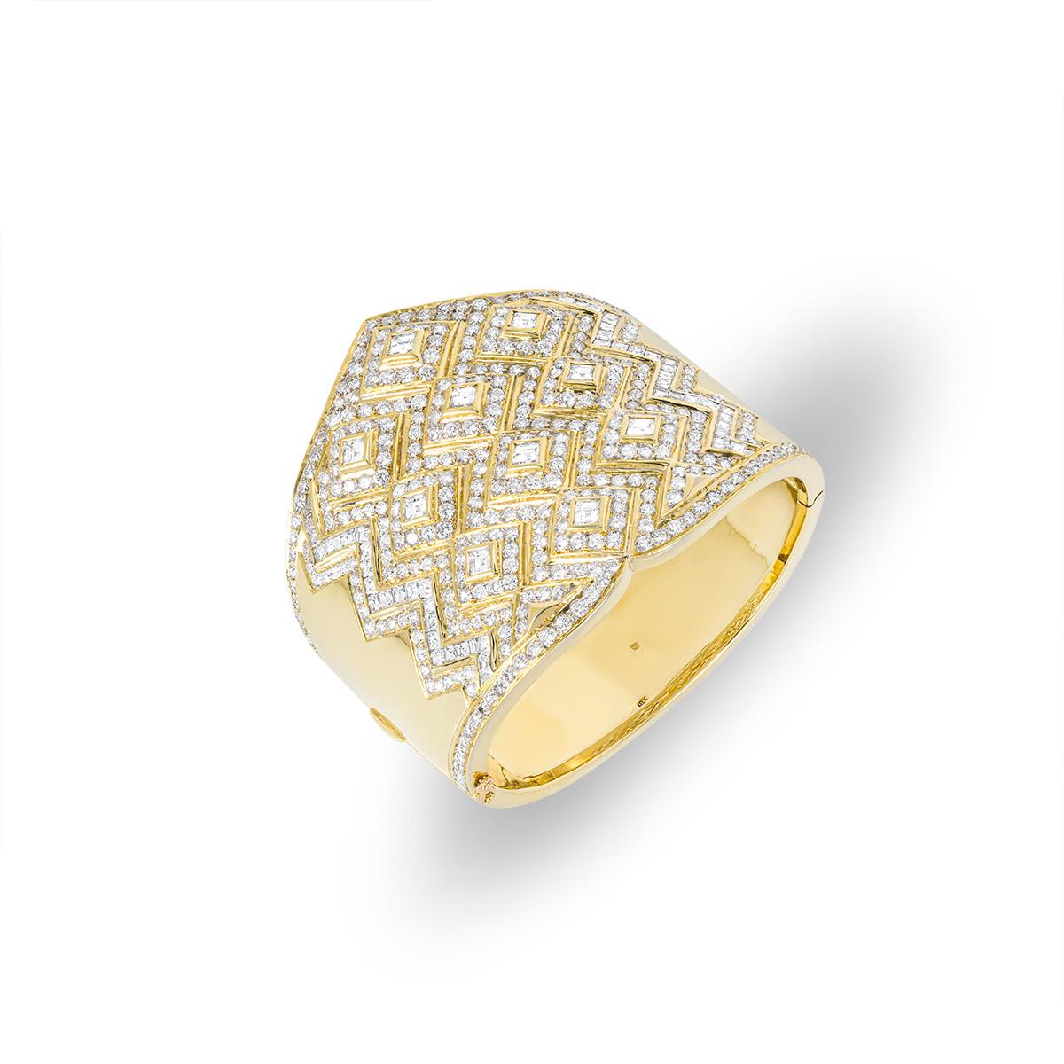 Yellow Gold Diamond Bangle